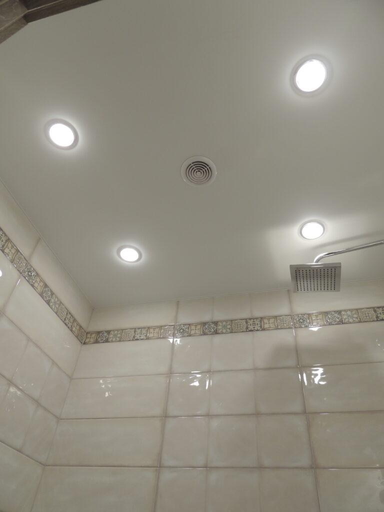 Потолок натяжной с четыремя точечными светильниками в ванной комнате