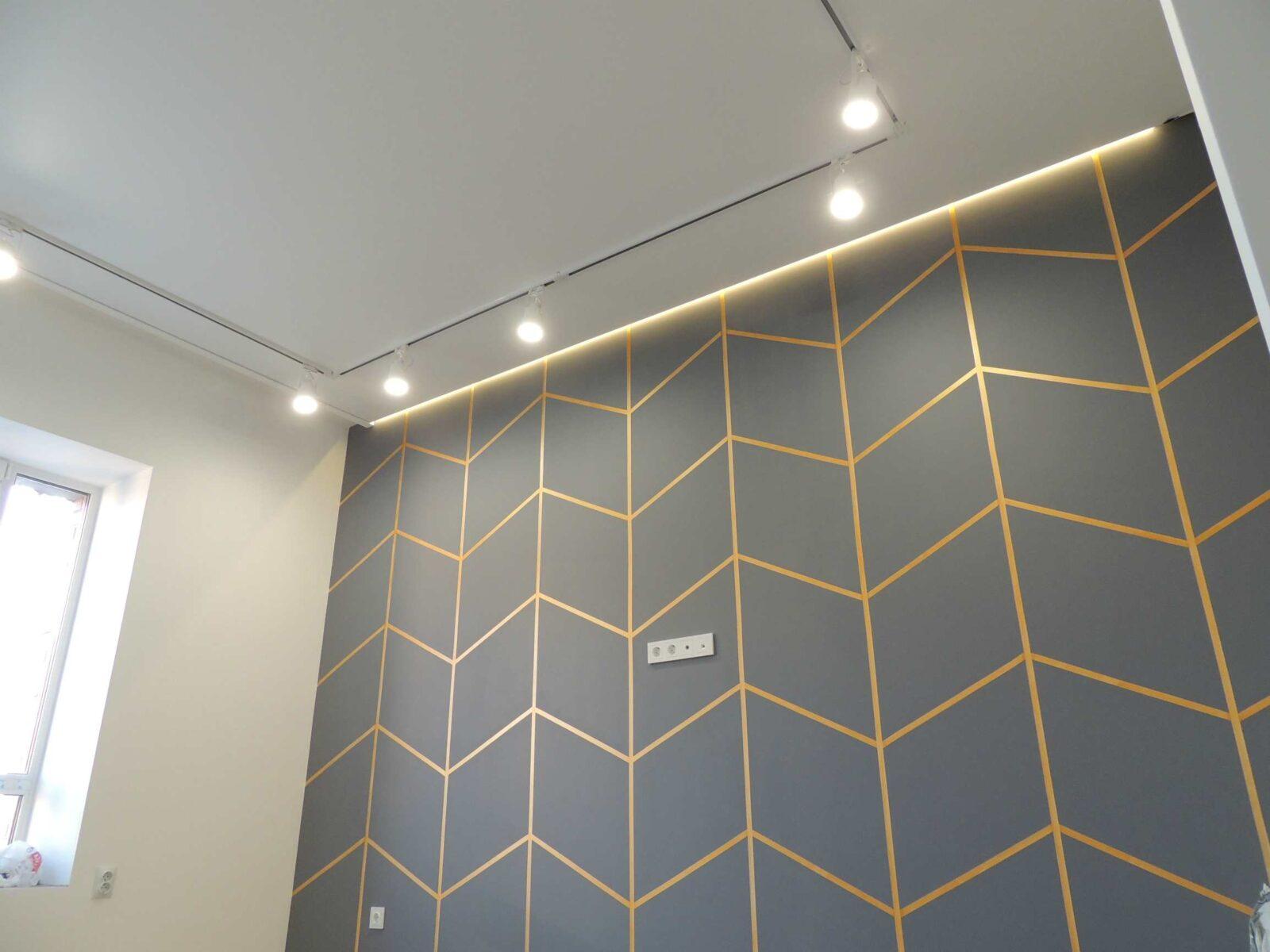 Декоративная стена с подсветкой в зале. Трековый светильник на потолке