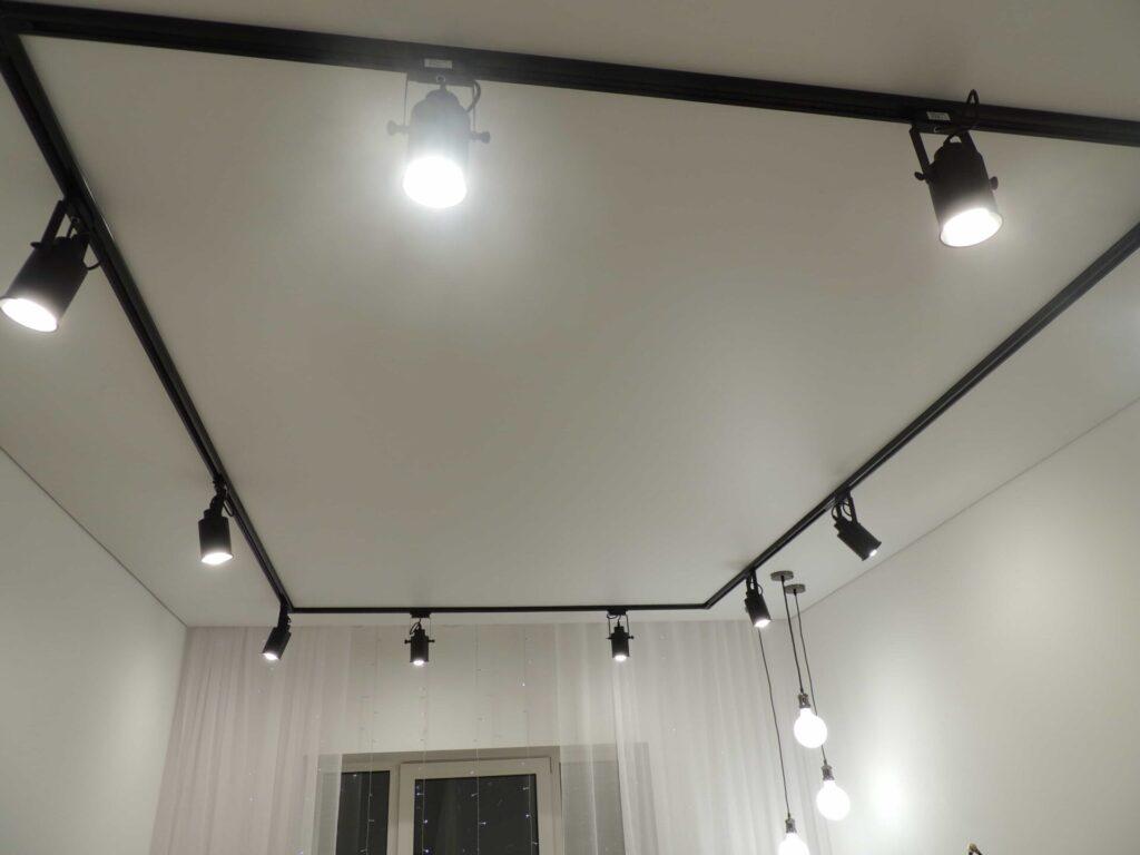 Чёрный трековый светильник на белом потолке