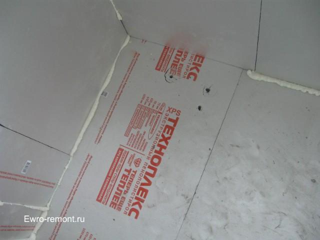 Утепляем Техноплексом стены и пол толщиной 5 см, потолок 3 см.