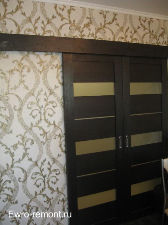 Раздвижная дверь цвета Венге в зале