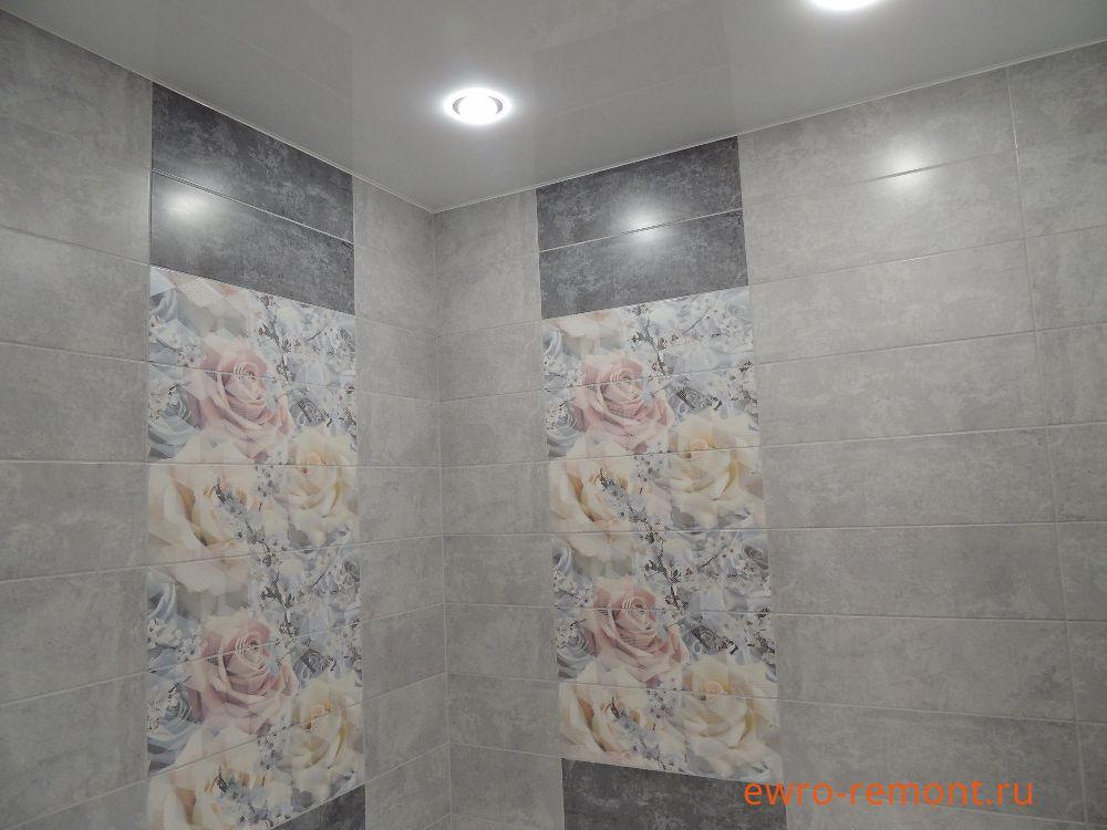 панно из роз в ванной комнате